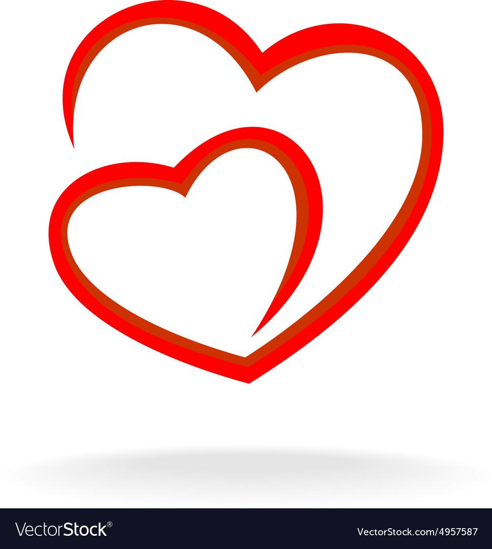 Two hearts logo Royalty Free Vector Image - VectorStock