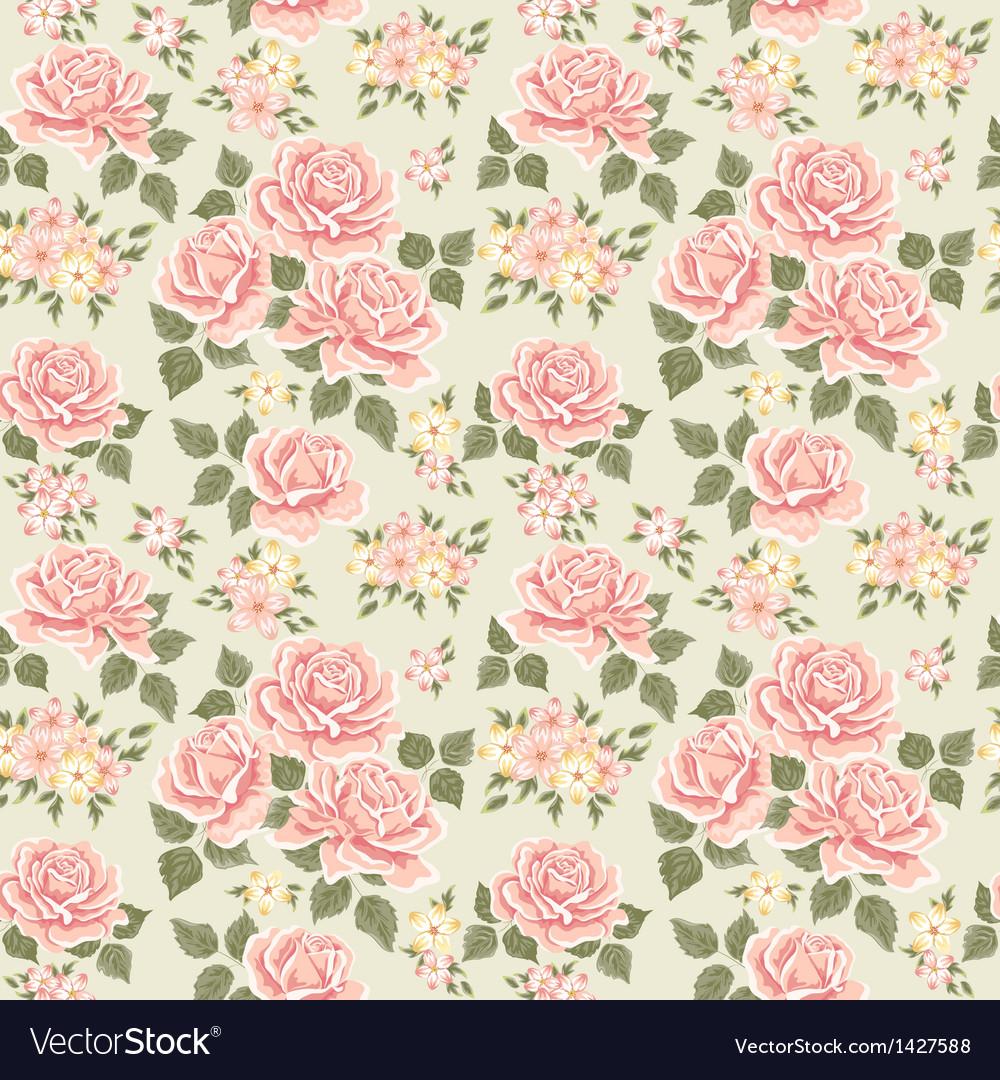 Pink vintage rose pattern vector image