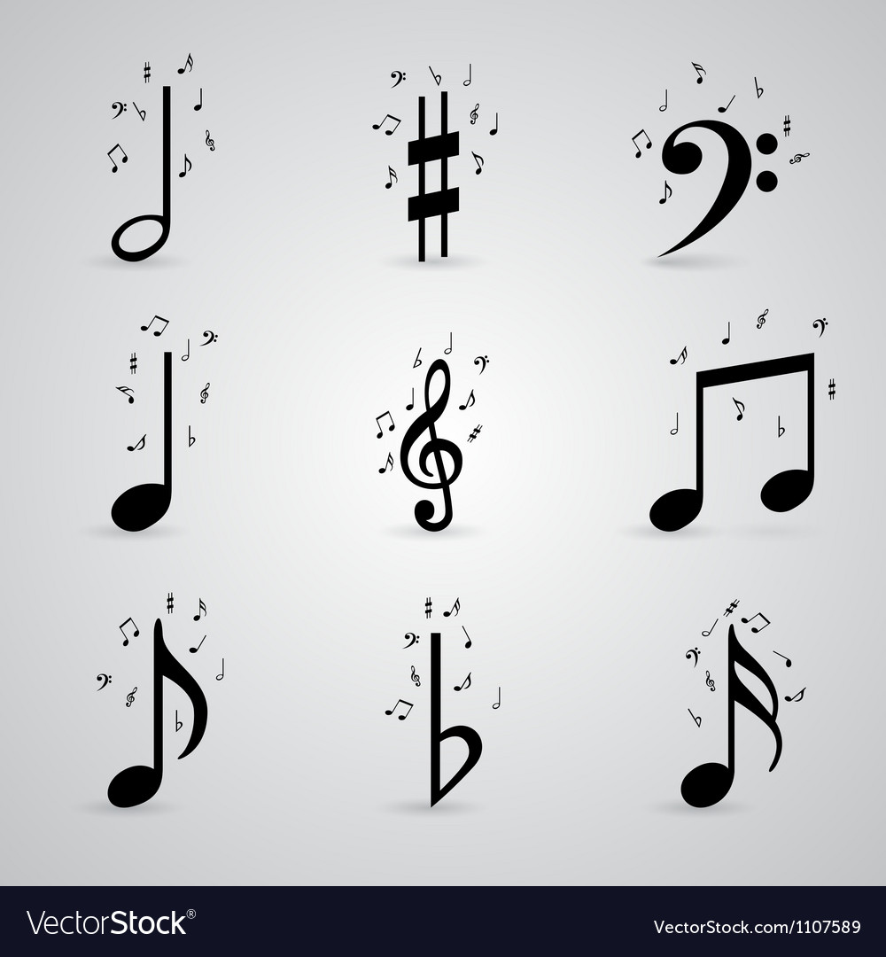 Icons set music note Vector Image