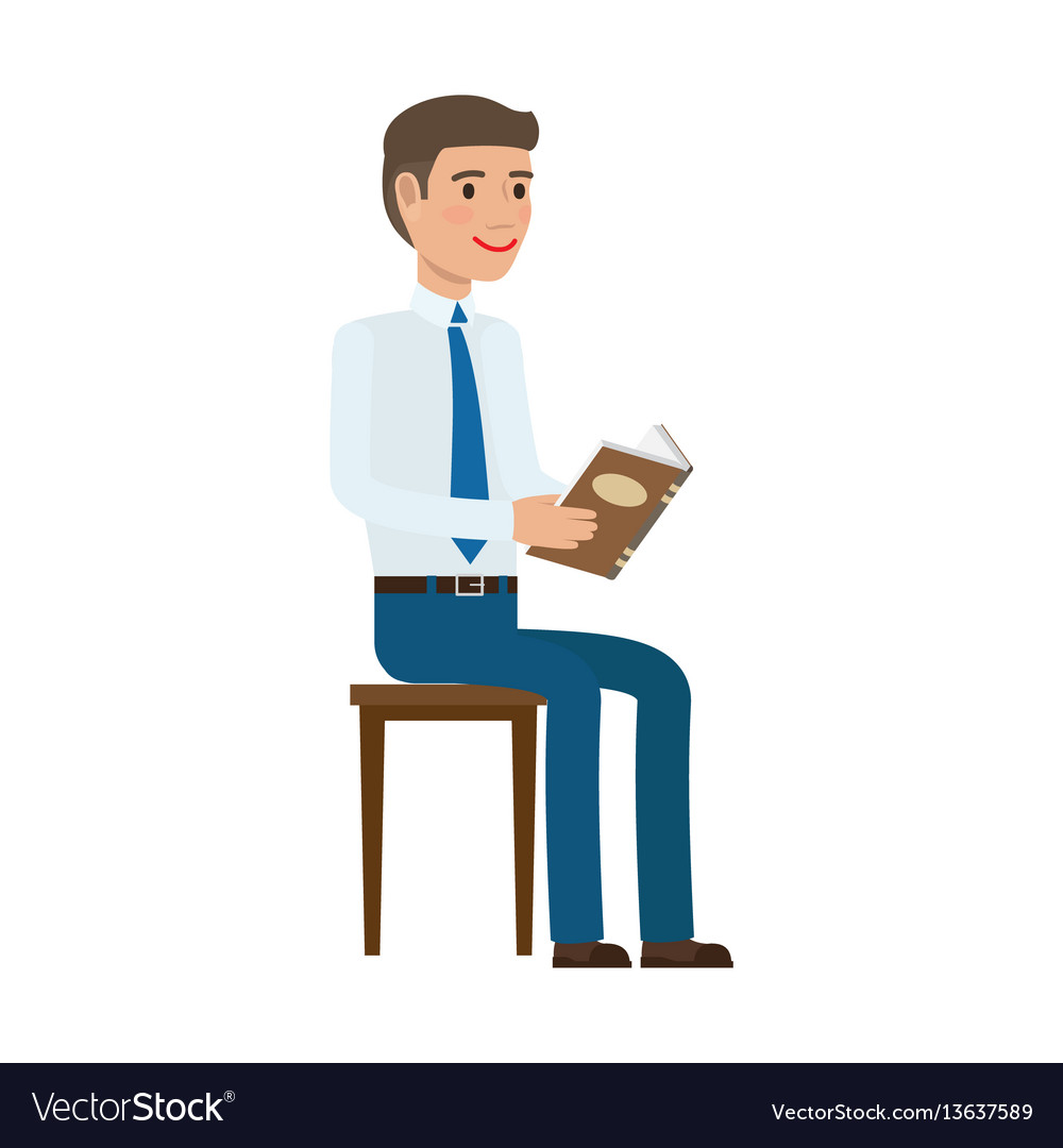 Businessman reading book at chair flat vector image