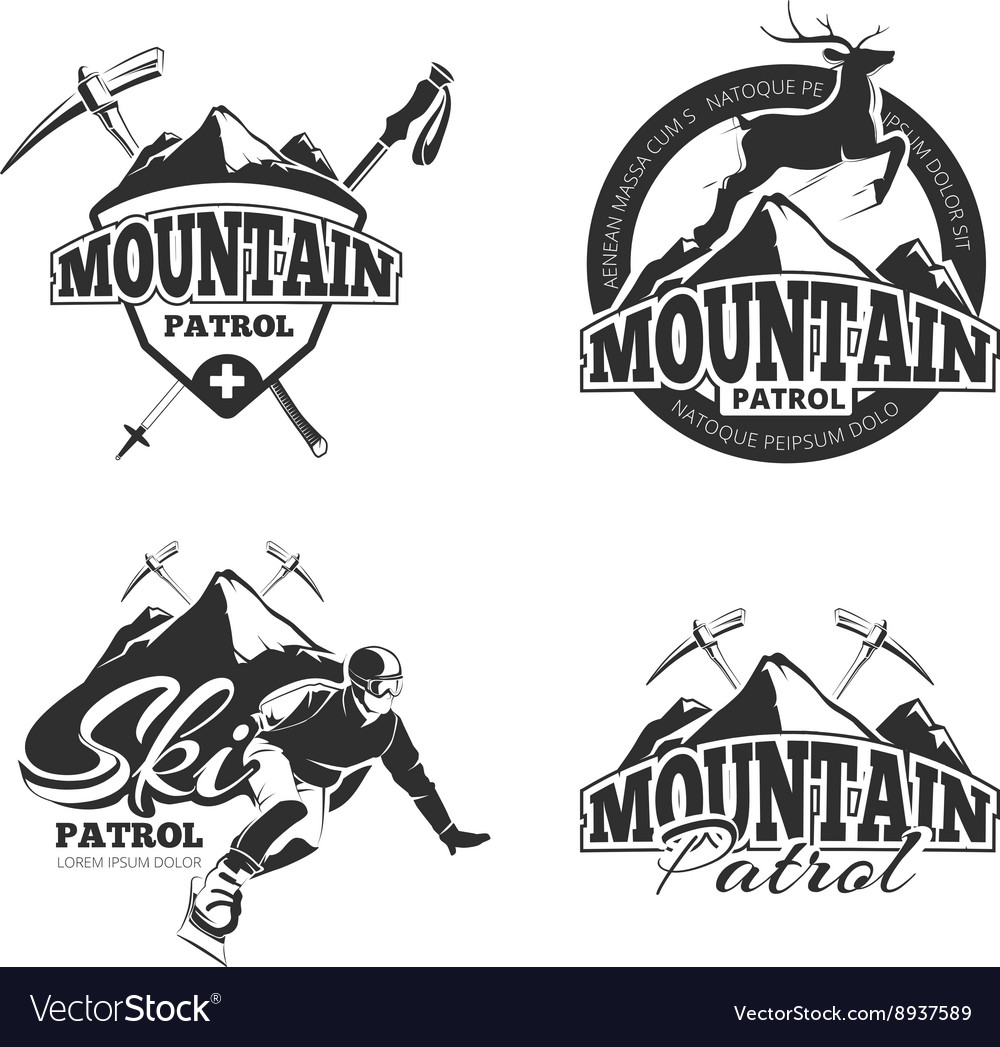 Vintage ski mountain patrol emblems labels vector image