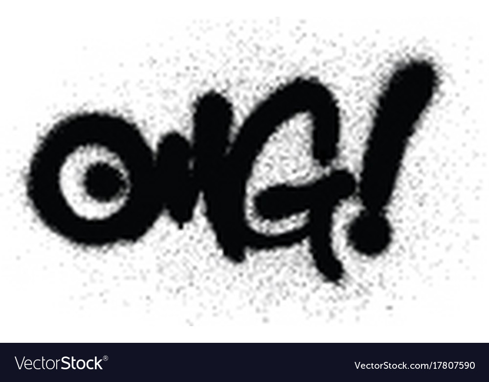Graffiti omg chat abbreviation in black over white vector image