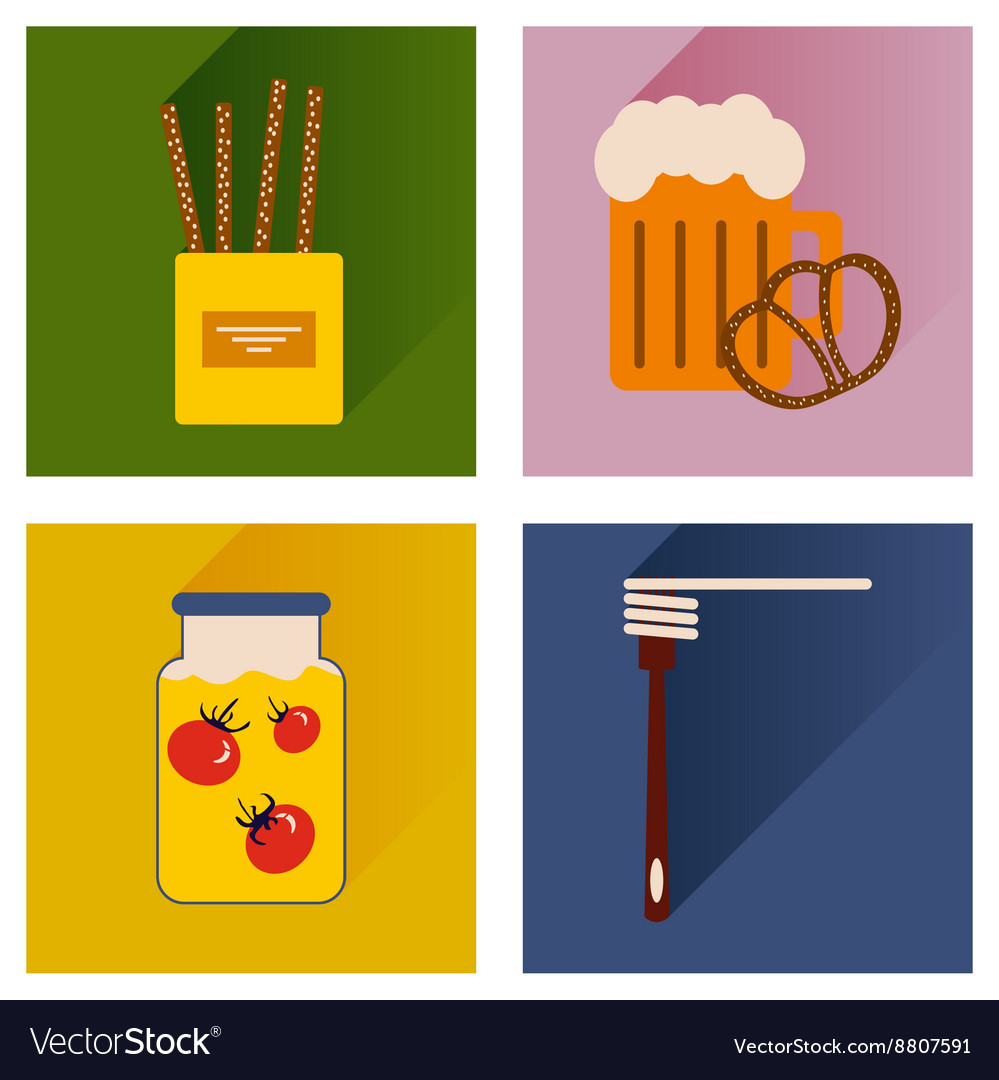 Set flat icons with long shadow homemade food