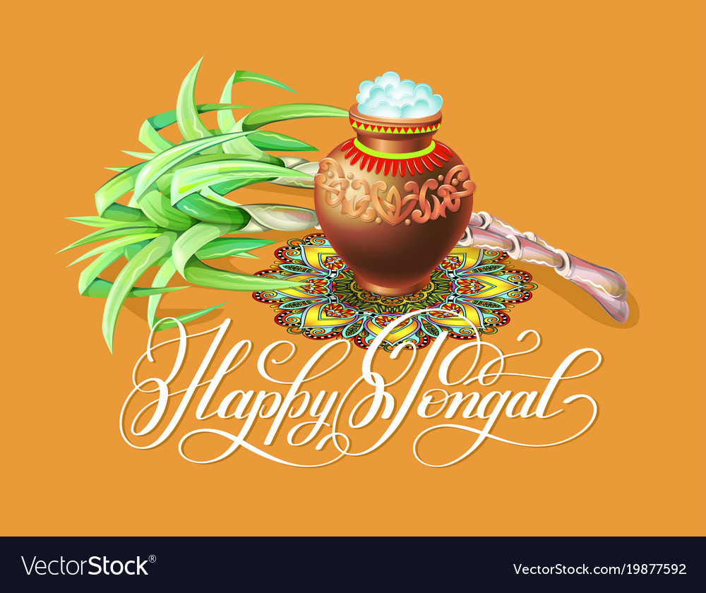 Happy pongal greeting card to south indian winter vector image m4hsunfo Choice Image
