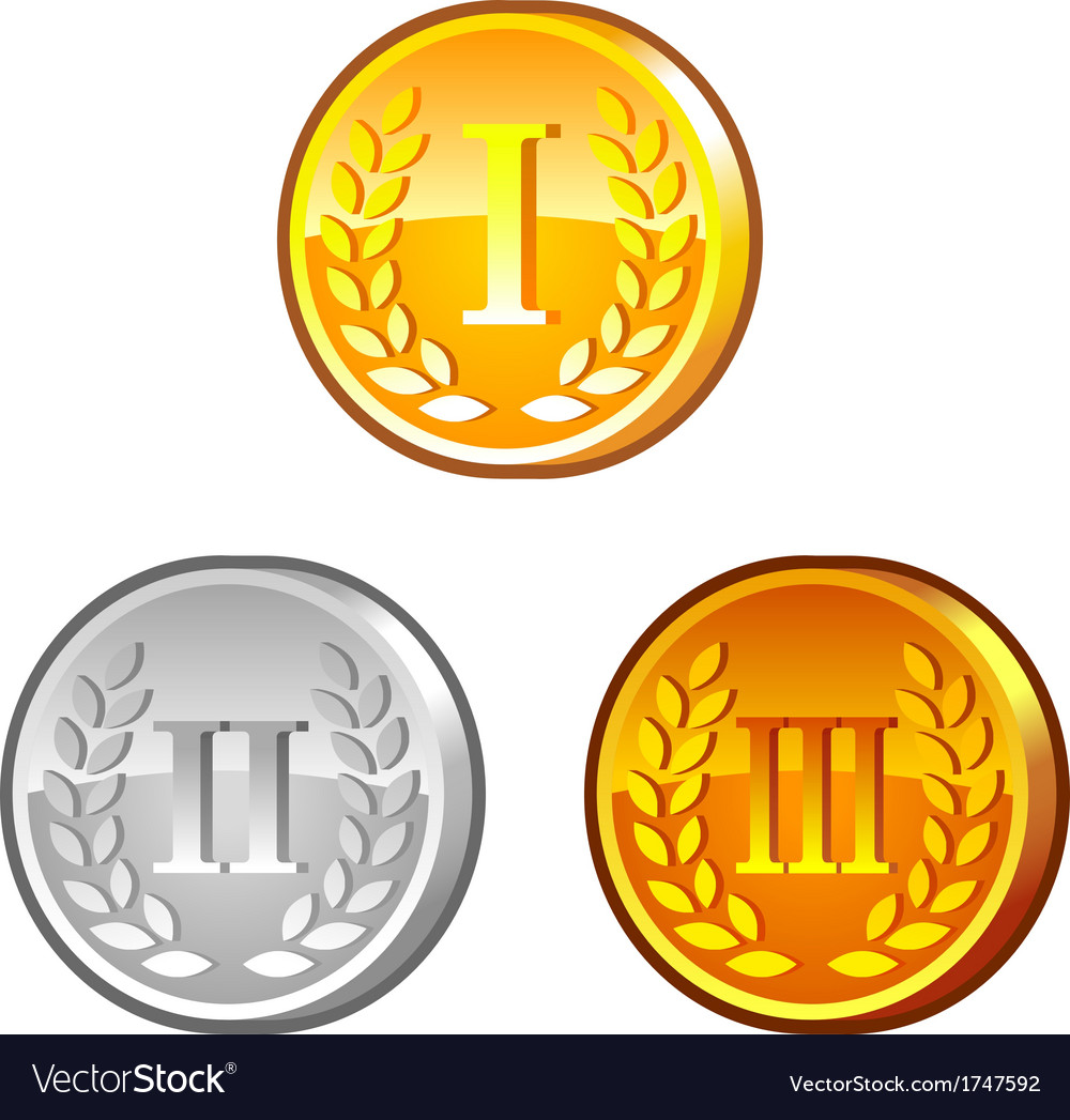 Medals with roman numerals vector image