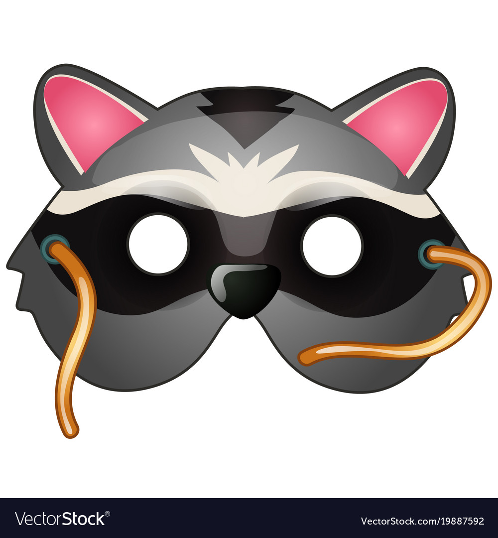 Raccoon mask on face in cartoon style vector image