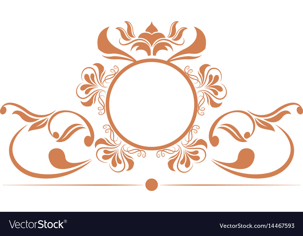 Elegant round decorative frame flourish vector image