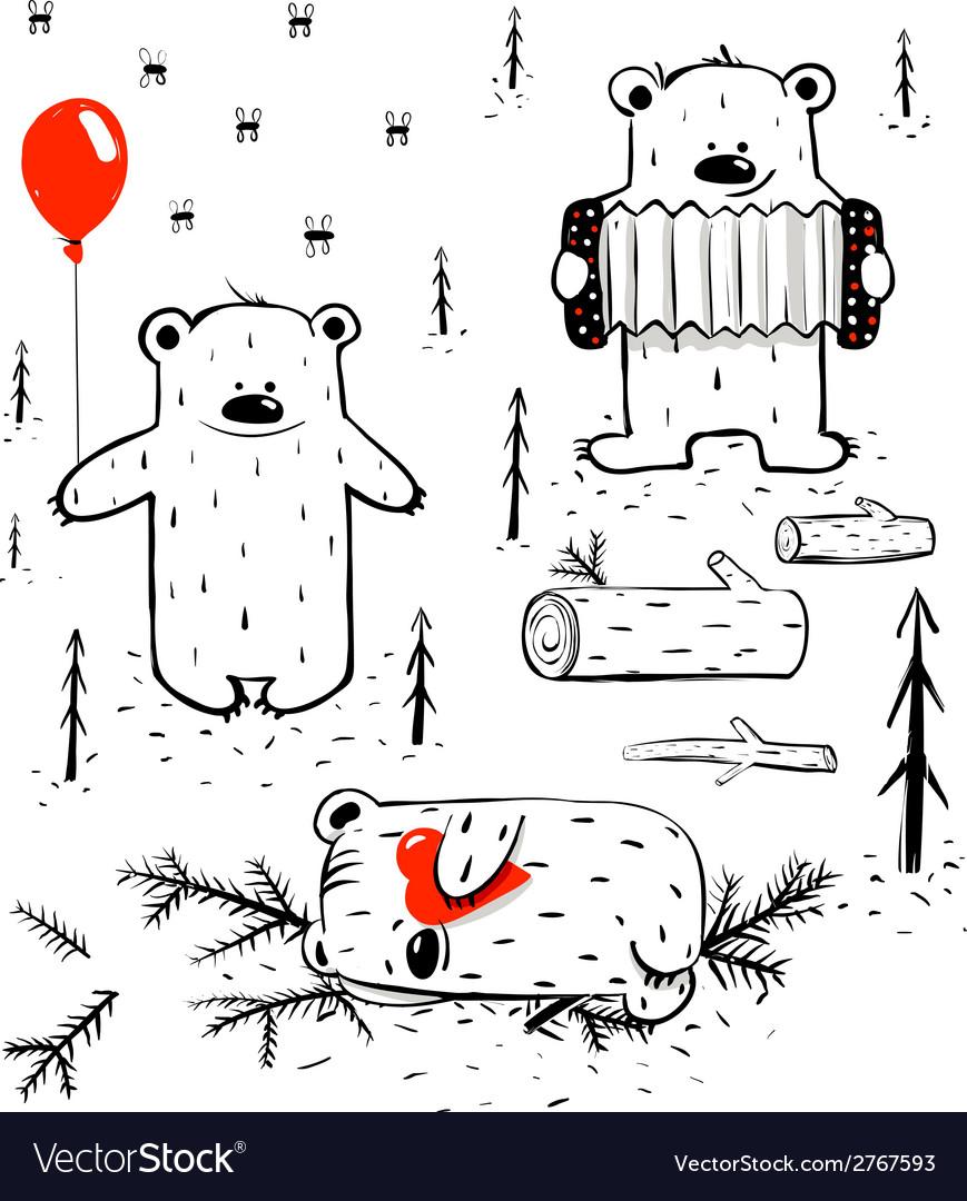 Three Cartoon Bears Sleeping and Playing vector image