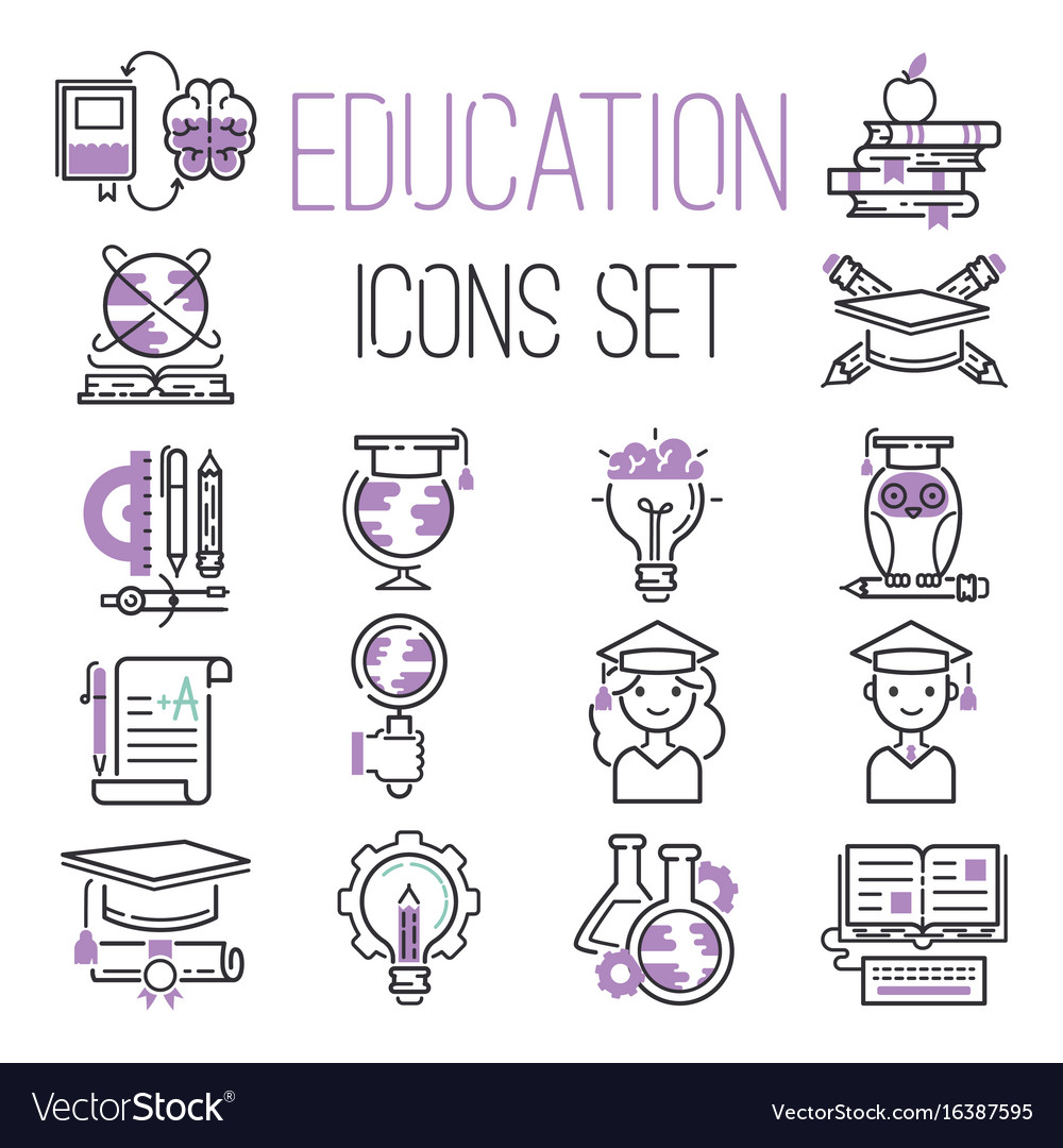Education graduation school outline icons symbols vector image biocorpaavc Images