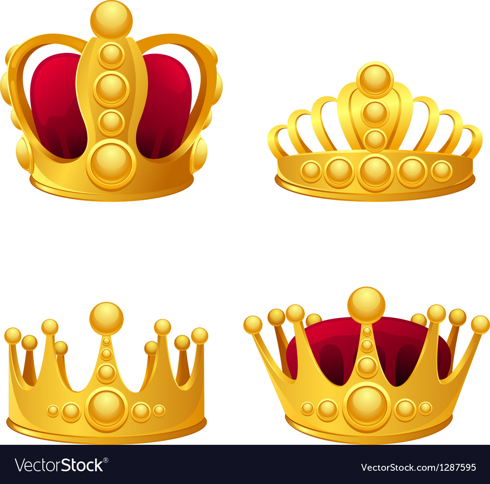 Set of gold crowns isolated vector image