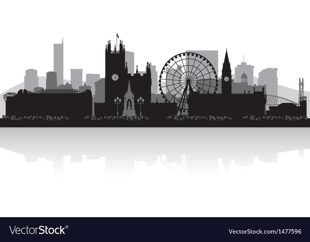 Manchester City Skyline Silhouette Royalty Free Vector