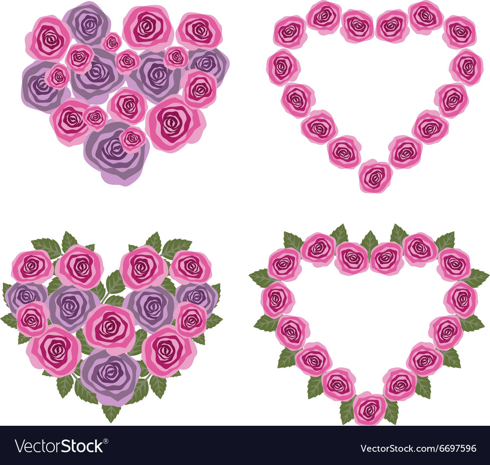 Hearts flower set 02 vector image