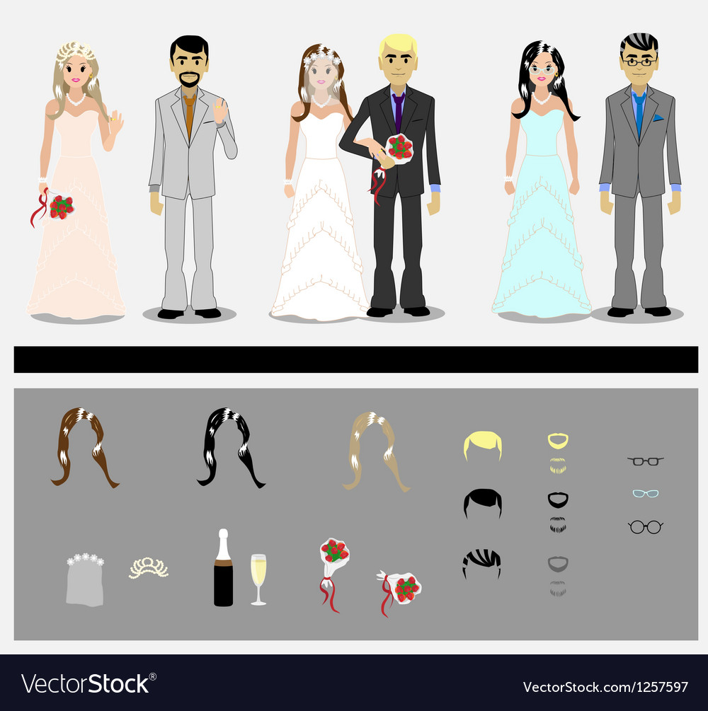 Set of grooms and brides vector image