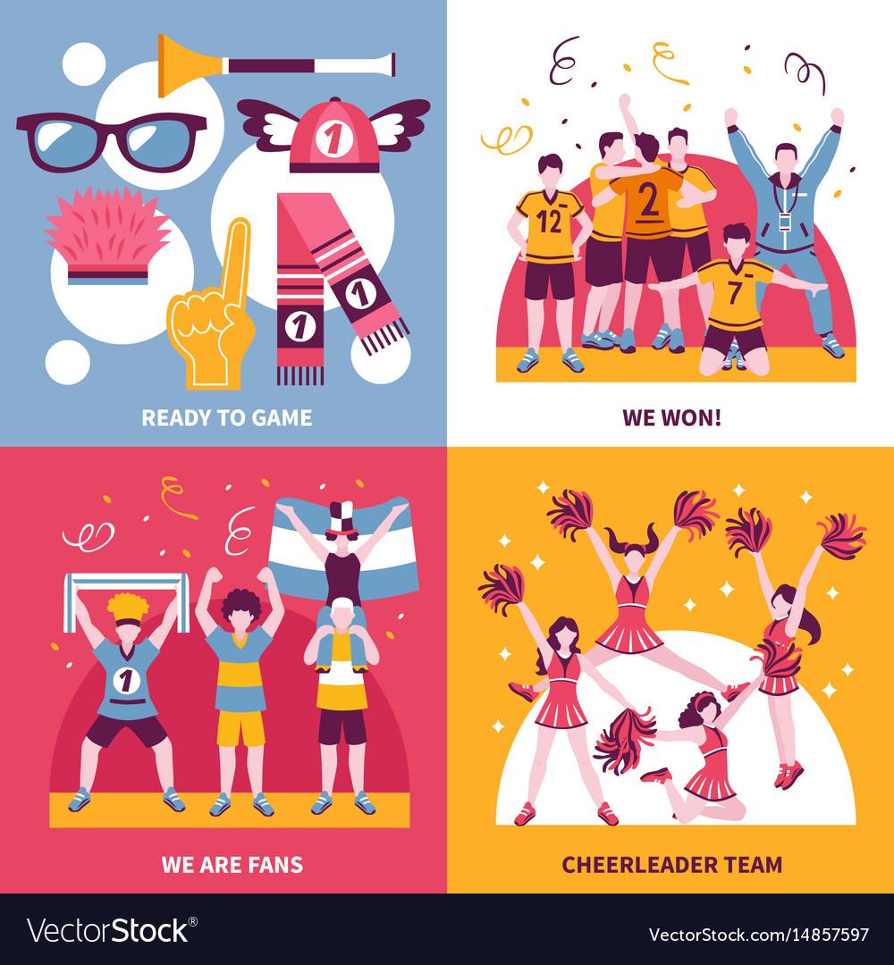 Sport fans cheerleaders isometric concept vector image
