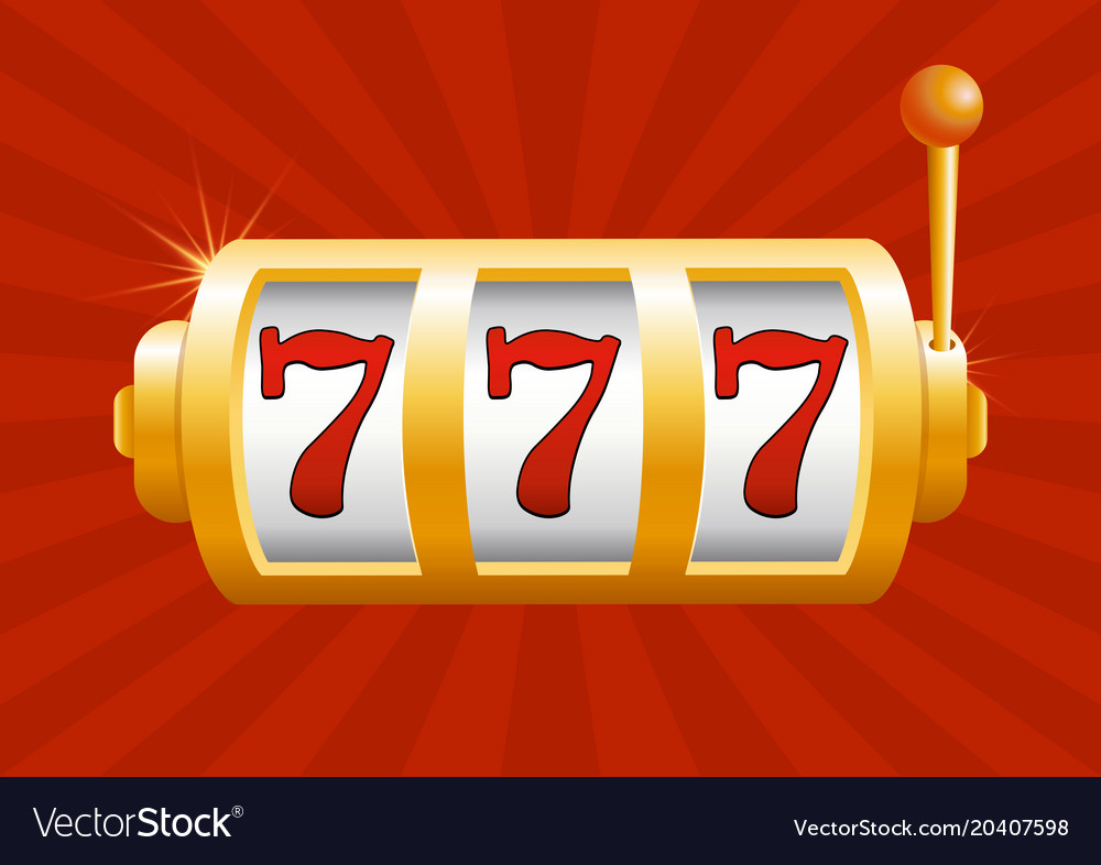 Golden slot machine wins vector image
