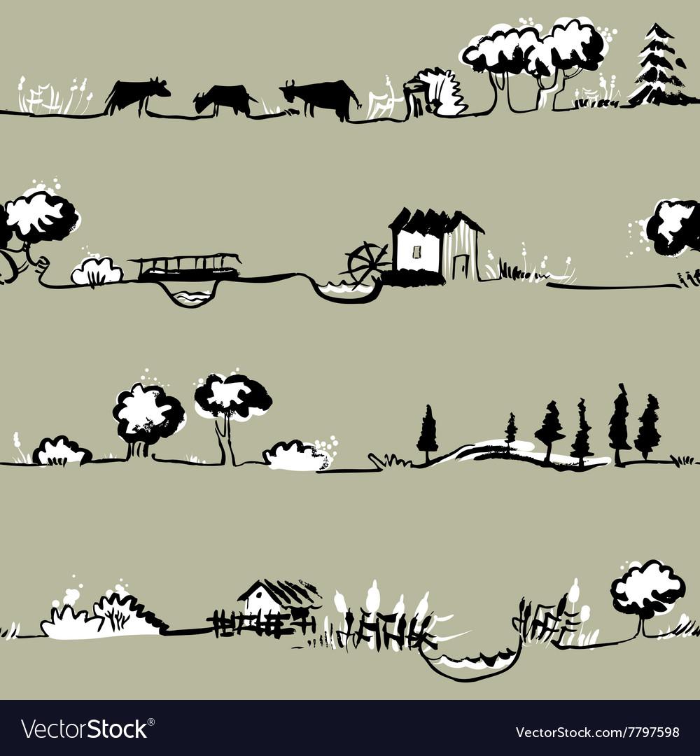 Landscape pattern vector image