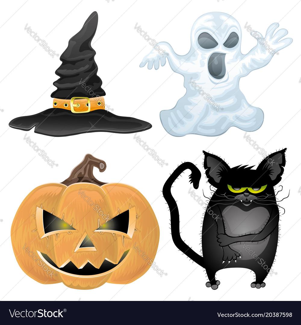 Set of halloween characters vector image