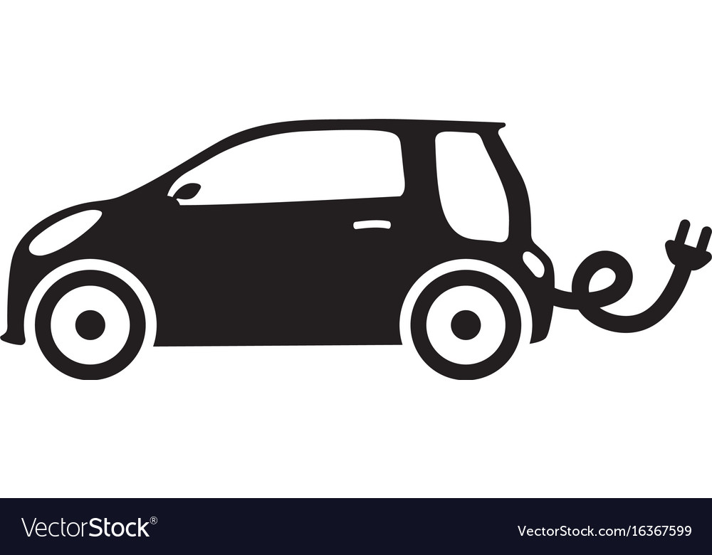 Car ecology isolated vehicle green silhouette icon vector image