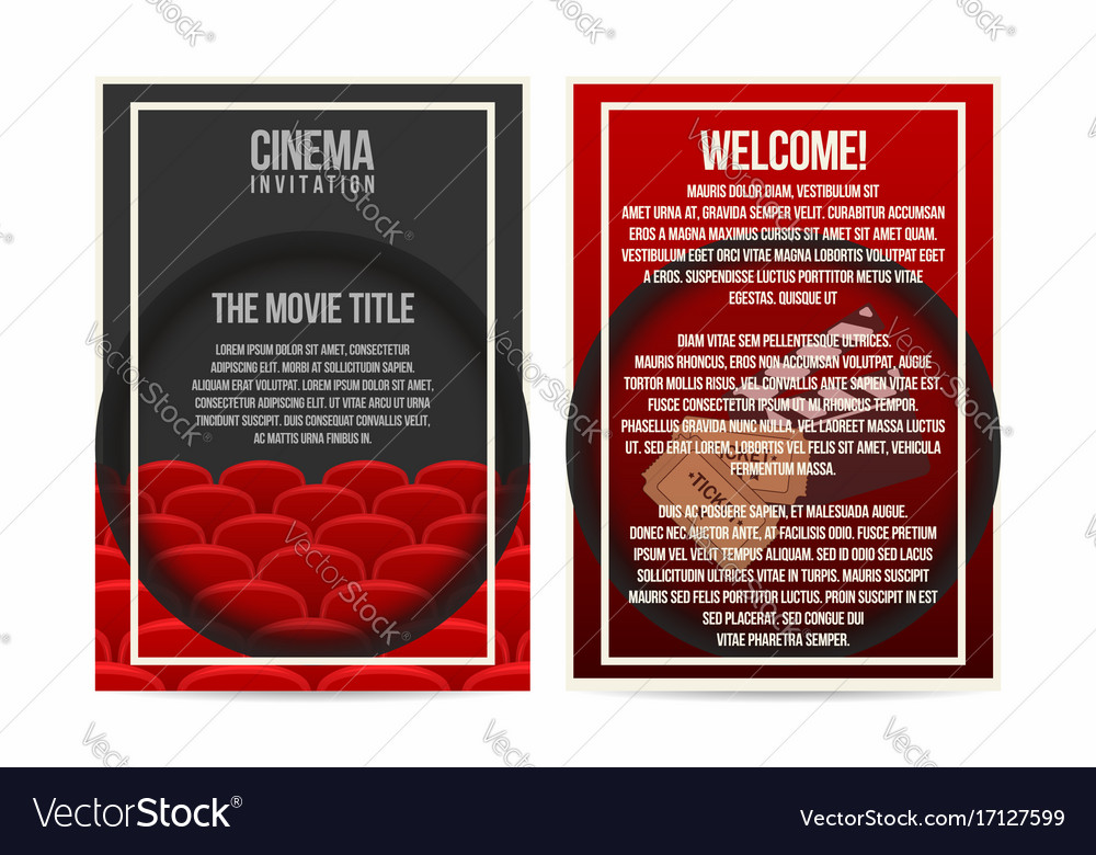 Cinema Poster Invitation Flyer Template A Size Vector Image