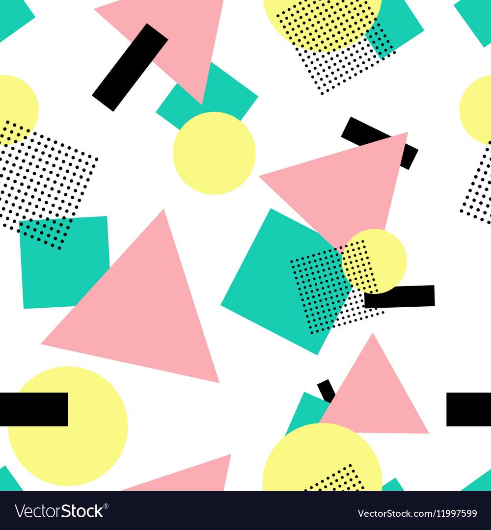 Geometric 80s fashion style seamless pattern vector image