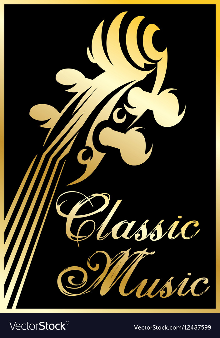 Golden pattern with violin for classical vector image