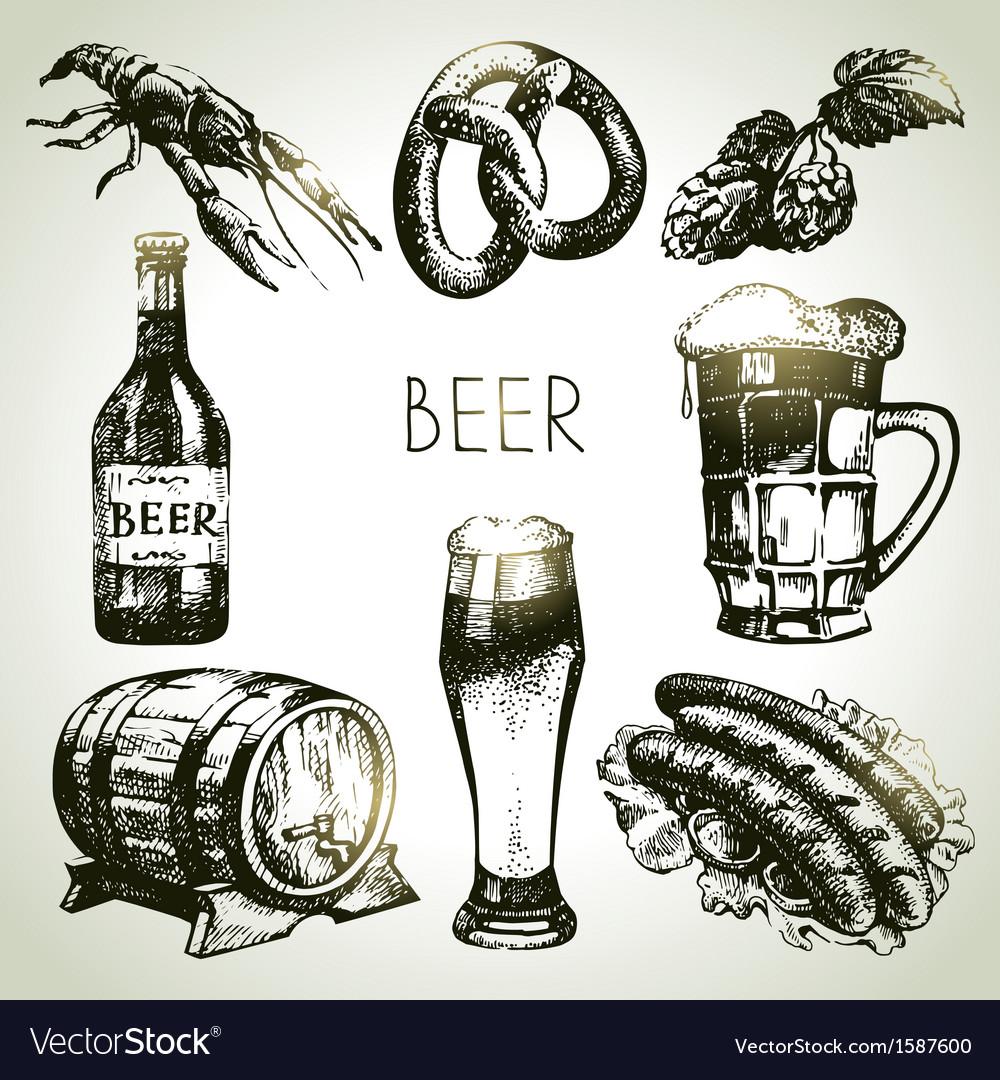 Hand drawn Oktoberfest set of beer vector image