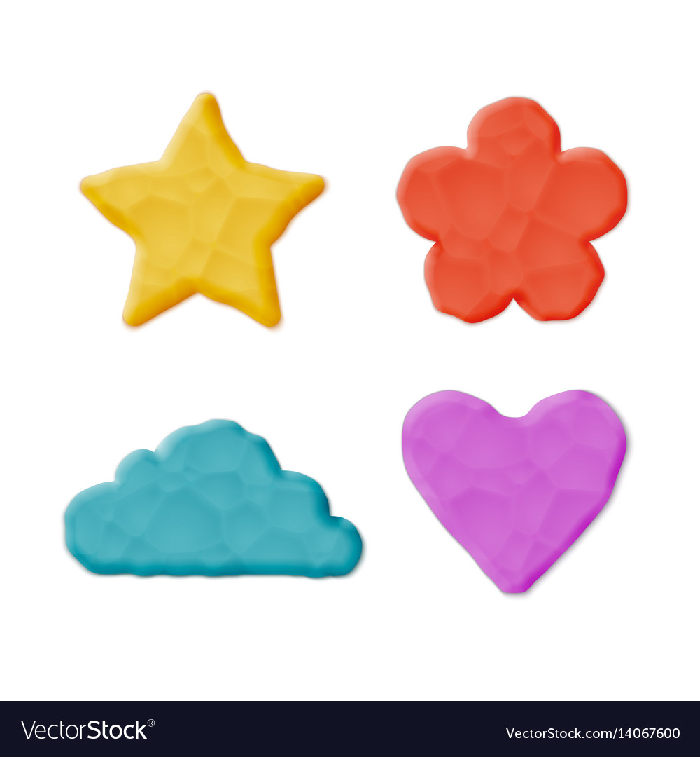 Plasticine clay shapes vector image