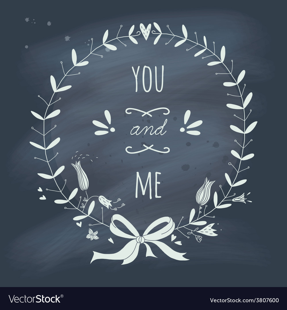 Valentines Day wreath with text on blackboard vector image