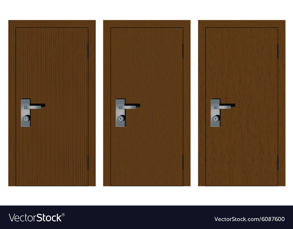 Wooden doors with different texture vector image