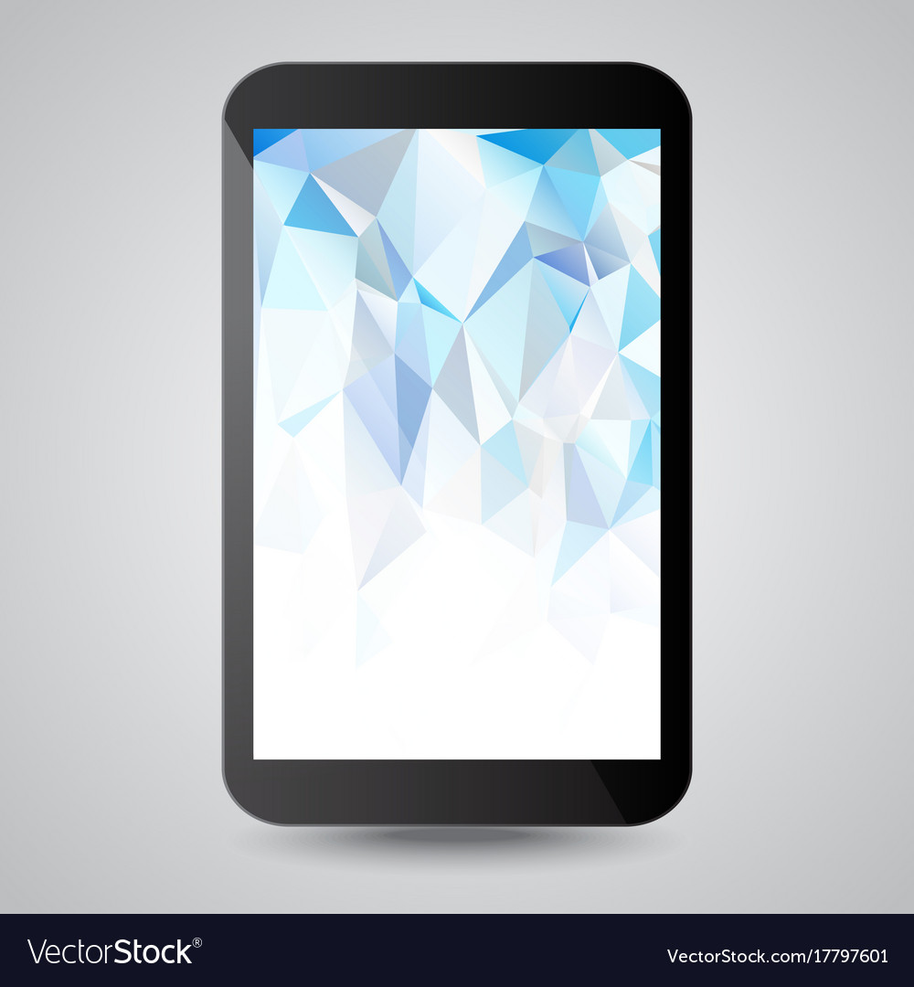 Black modern gadget with blue polygonal background vector image