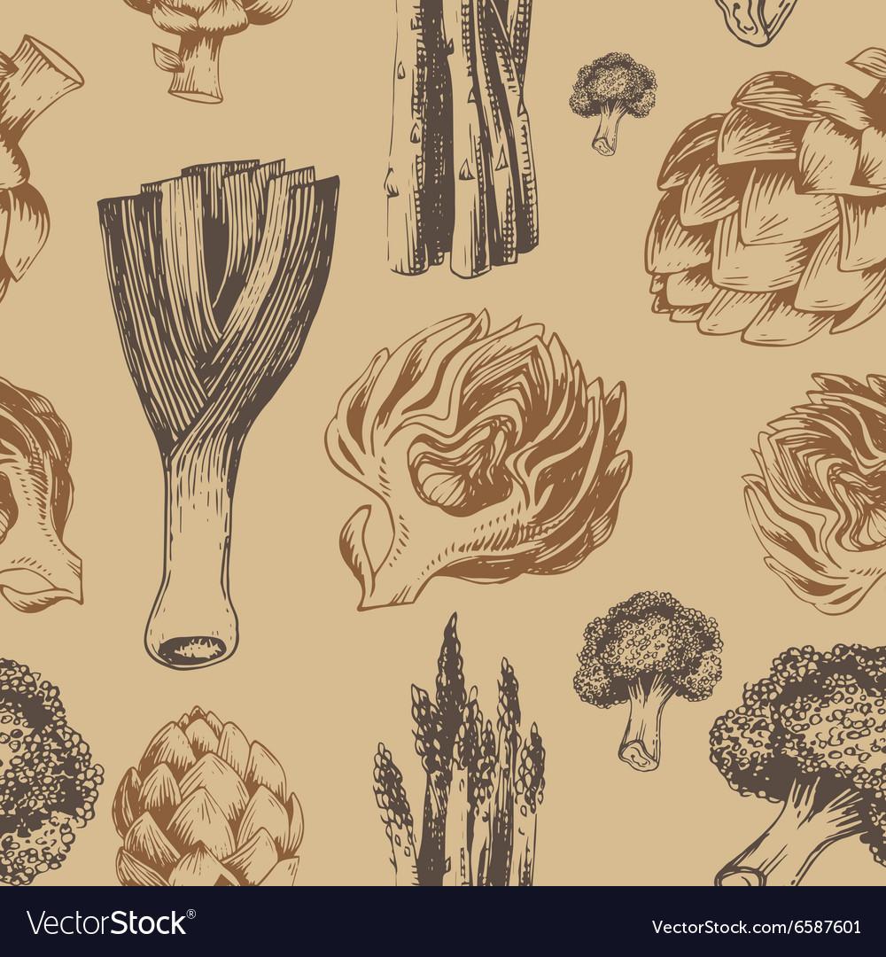 Fresh organic vegetables seamless pattern vector image