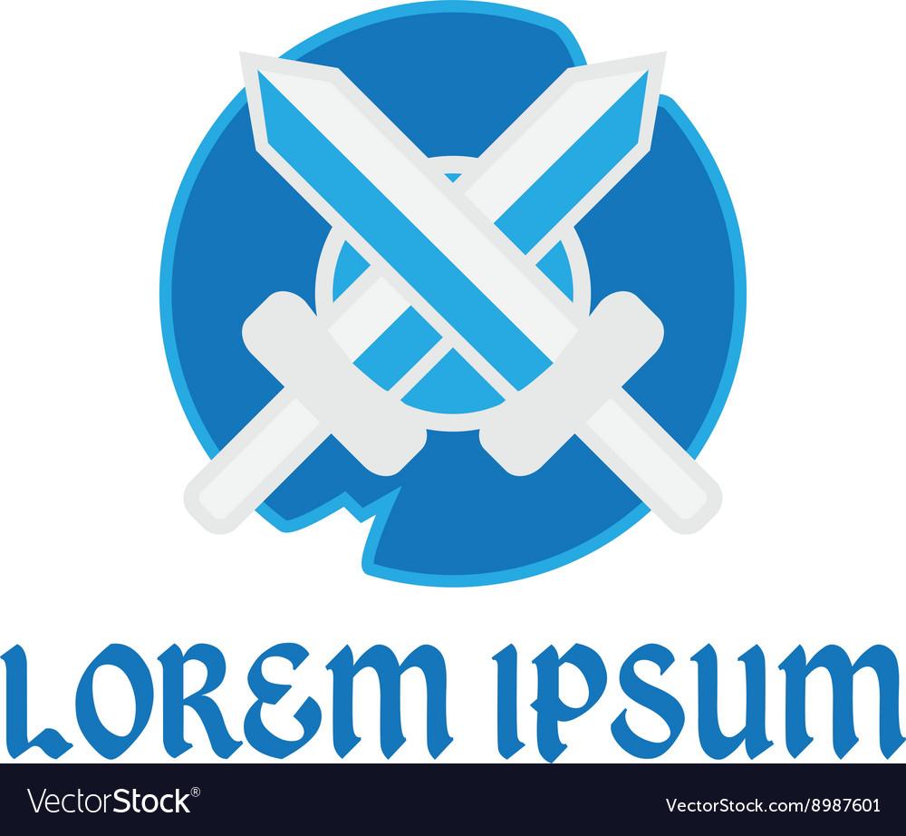 Logo swords and shield vector image