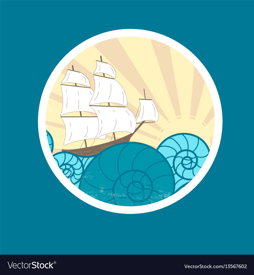 Badge with waves and ship vector image