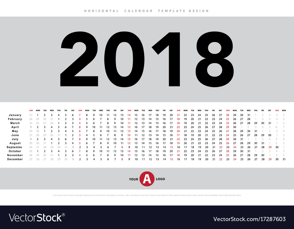 Horizontal Calendar Design : Calendar horizontal template design vector image