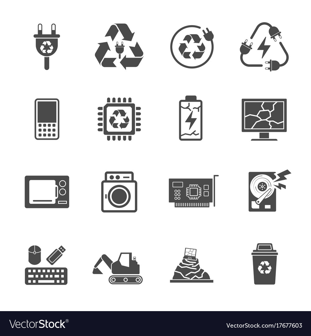 Vector E Sanitary Service : Recycling e waste garbage contains such icons as vector image