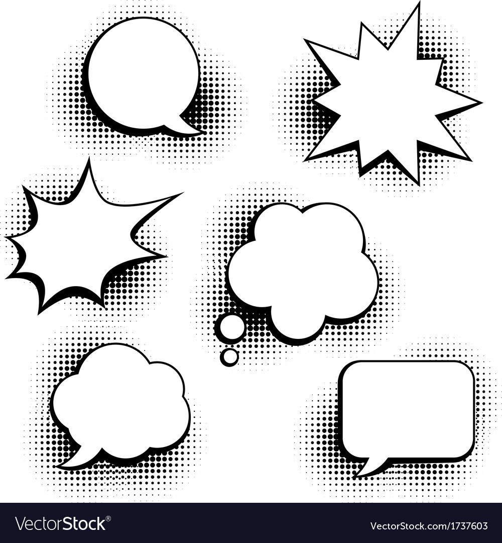 Set of speech bubbles in pop art style vector image