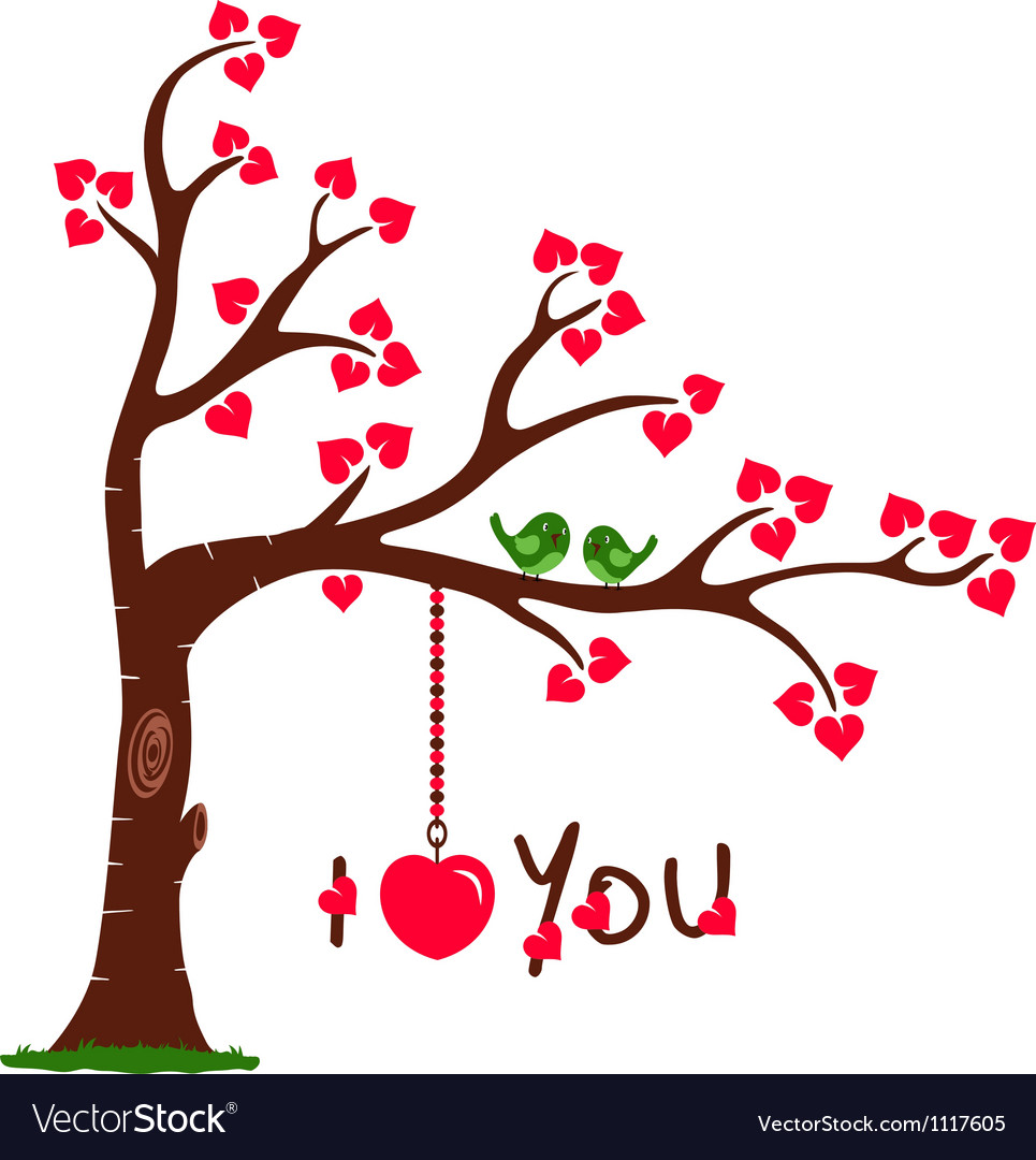 Love Tree with I Love You vector image
