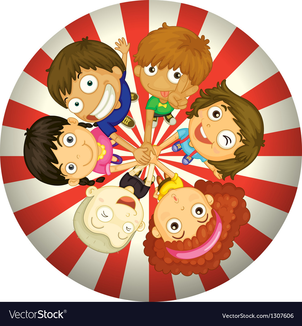 Kids playing inside a circle vector image