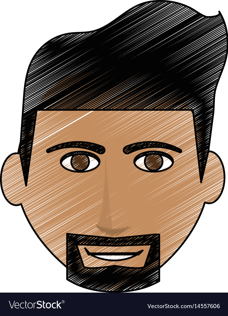Color pencil cartoon front face man with beard vector image