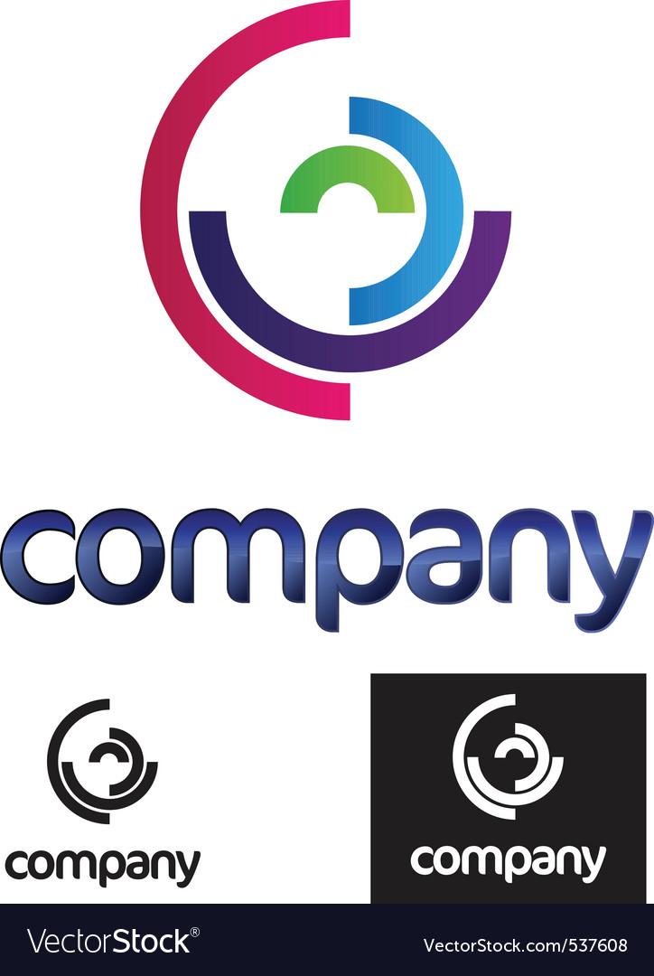Half circles modern logo vector image