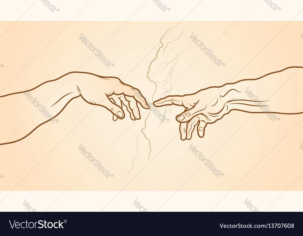 The creation of adam fragment vector image