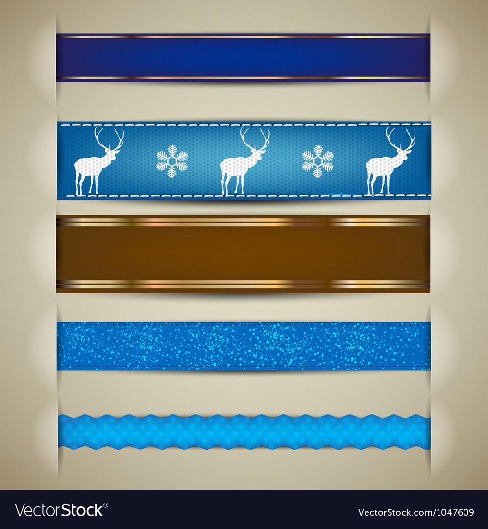 Nordic Christmas Ribbon Banners vector image