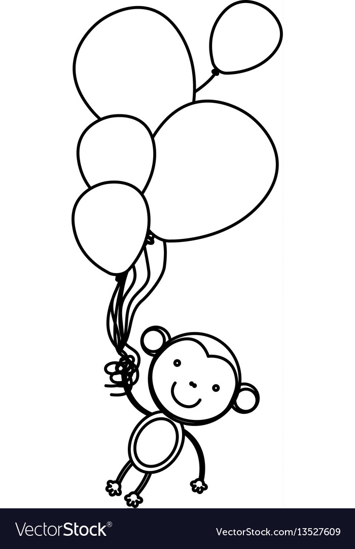 Silhouette monkey hanging in the bolloons icon vector image
