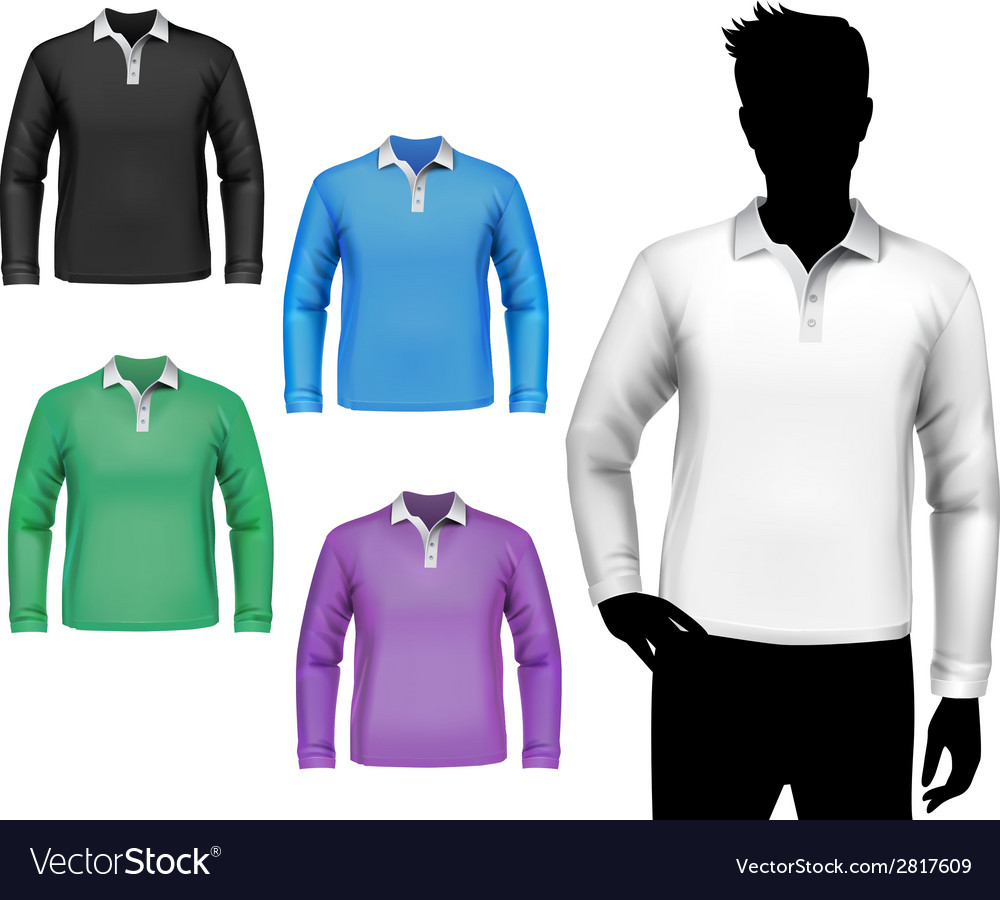T-shirts male polo long sleeve set vector image
