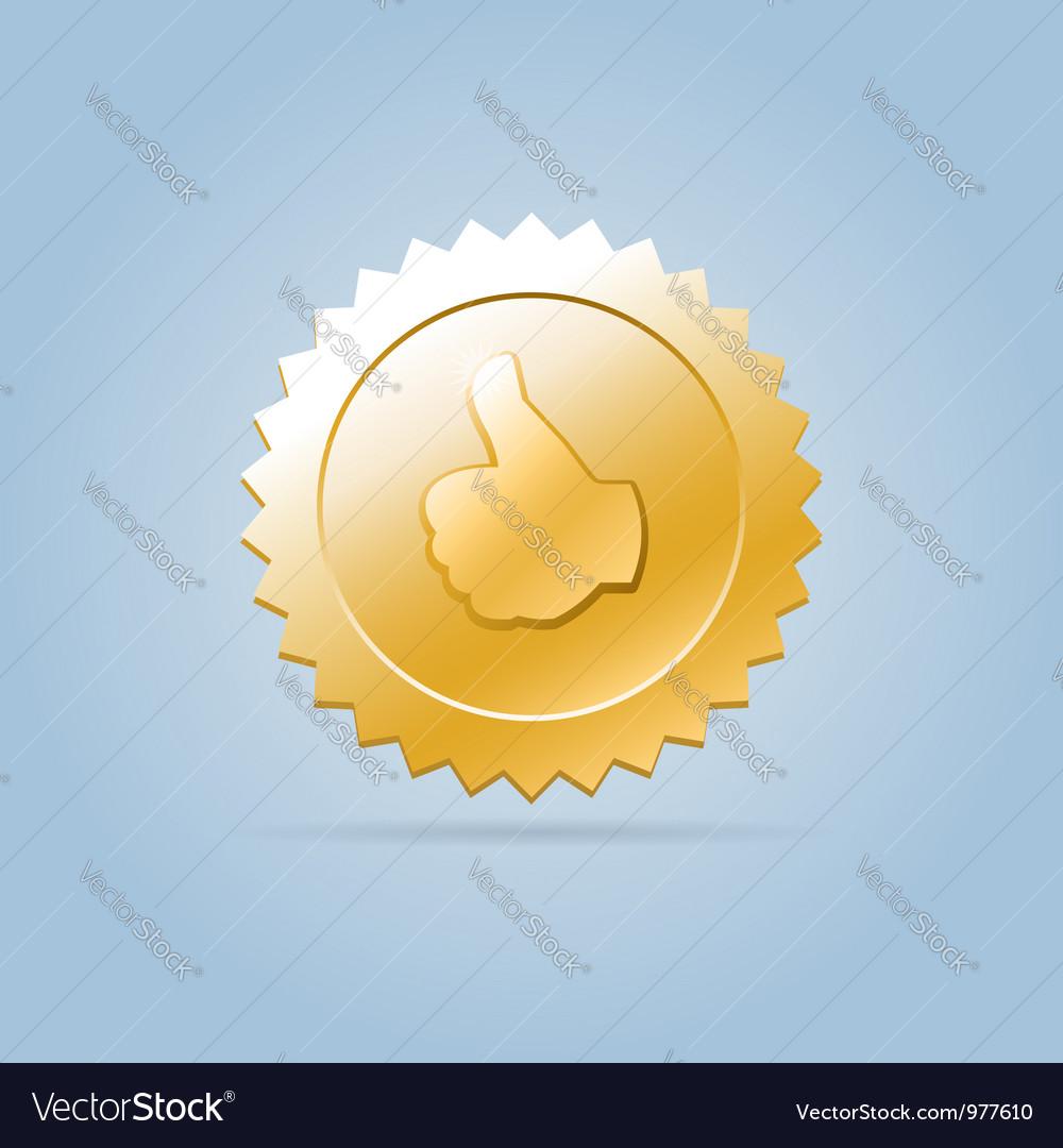 Golden like medal sign Vector Image