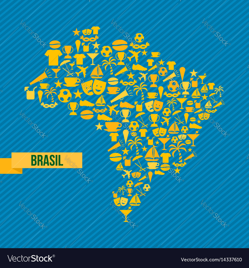 Brazil lifestyle map sport and culture icon set vector image