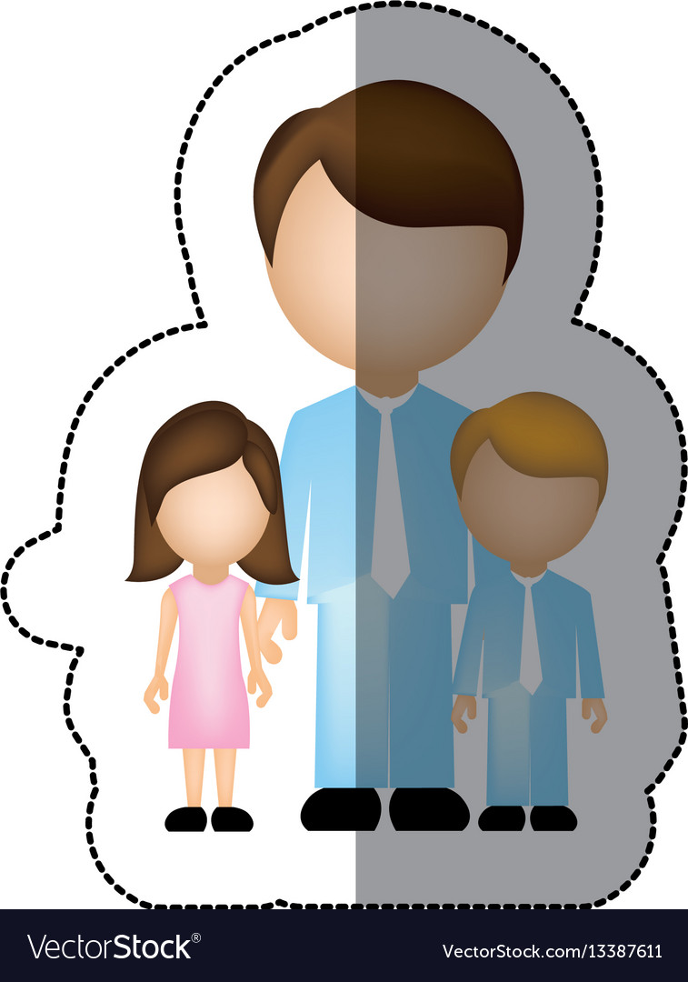 Color man with his children icon vector image
