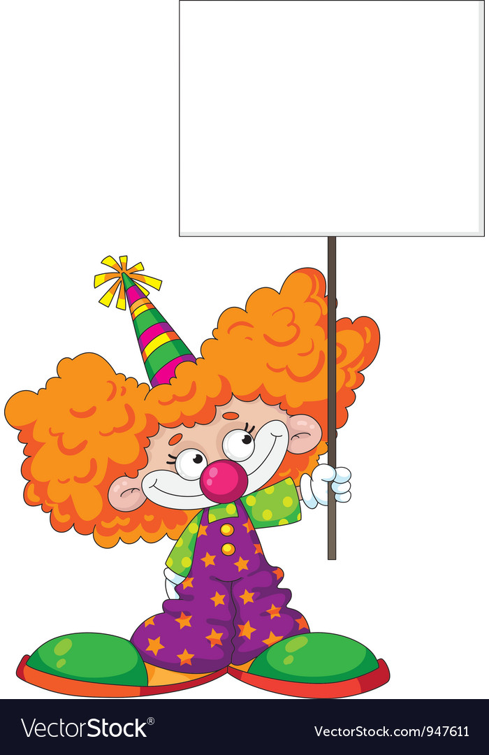Kid clown with blank sign vector image