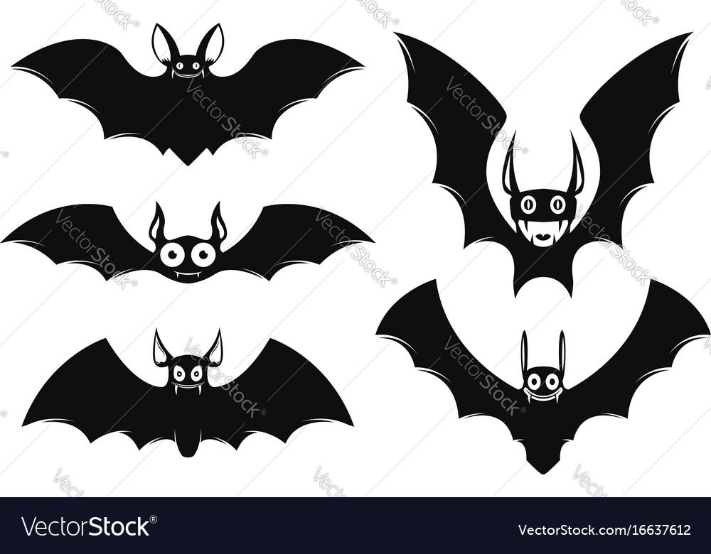 set of halloween bat icons monster bats vector image - Halloween Pictures Bats