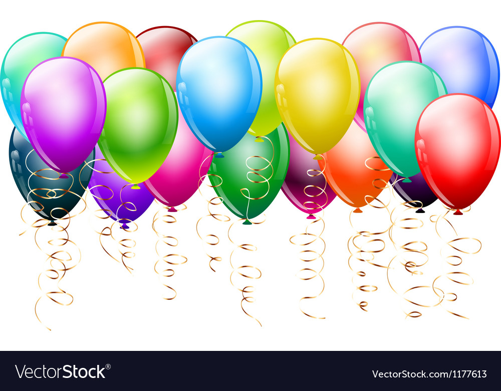 Colorful balloons with gold vector image